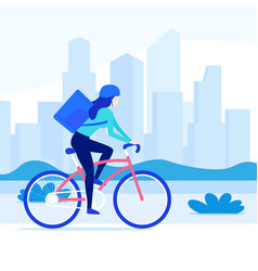 Courier riding bicycle delivery worker on bike vector