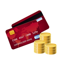 credit card and golden coins vector image