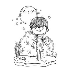 cute little boy with moon kawaii in the landscape vector image