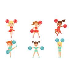Cute little cheerleader girls dancing set girls vector