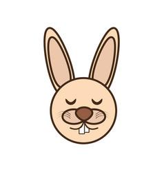 Cute rabbit face kawaii style vector