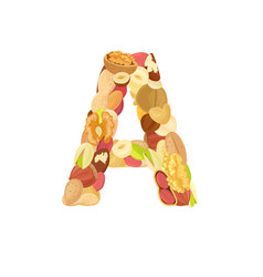 Delicious letter made from different nuts a vector