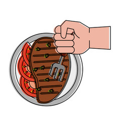 delicious meat on dish vector image