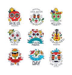 dia de los muertos logo set mexican day of the vector image