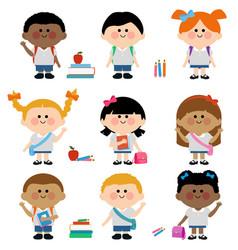 diverse group children students vector image
