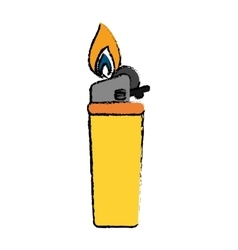 drawing yellow gas lighter flame icon vector image