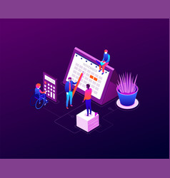 efficient planning - modern colorful isometric vector image