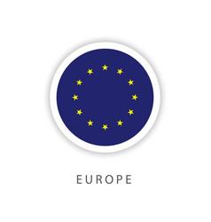 Europe circle flag template design vector