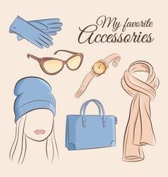 Fashion set of a stylish vector