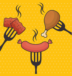 fast food chicken and sausage design vector image