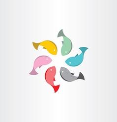 Fish in circle abstract symbol vector