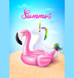 flamingo unicorn inflatable ring on beach vector image