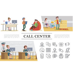 Flat call center colorful concept vector