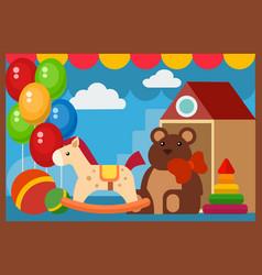 flat design restaurant toys shop facade vector image