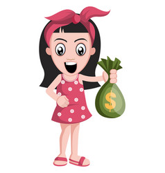 girl with money bag on white background vector image