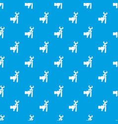 Hand holdimg calipers pattern seamless blue vector
