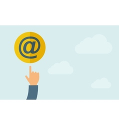 Hand pointing to Email icon vector image