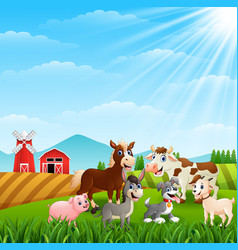 happy animals at farm on daylight vector image