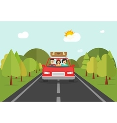 happy family trip car people characters in vector image