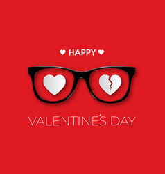 Happy valentines day black hipster glasses vector