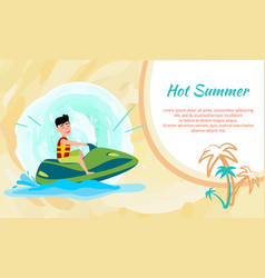 Hot summer poster with place for text and jet ski vector