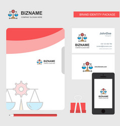 justice business logo file cover visiting card vector image