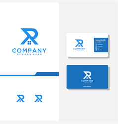 Letter ar logo design and business card template vector