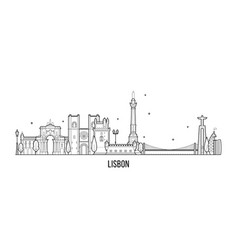 lisbon skyline portugal big city buildings vector image