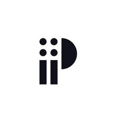 logo letter p black and white vector image