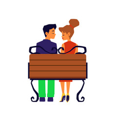 Loving couple - man and woman dating in park flat vector