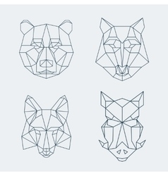 Low poly animals bear and wolf fox or wild boar vector