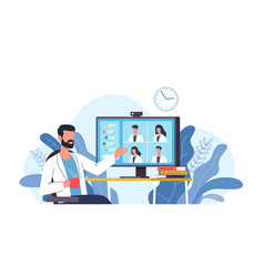 medical video conference online doctors meeting vector image