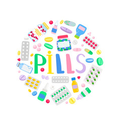 medicines and medications round banner vector image
