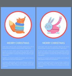 merry christmas animal fox in sweater and rabbit vector image