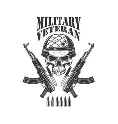 Military veteran crossed assault rifles ak-47 vector