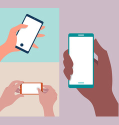 Mobile phone in hand background mocku vector