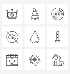 Modern style set 9 line pictograph grid based vector