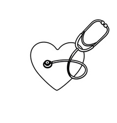 Monochrome silhouette of heart with stethoscope vector