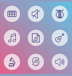 multimedia icons line style set with play list vector image