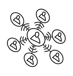 network icon doodle hand drawn or outline icon vector image