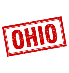 Ohio red square grunge stamp on white vector
