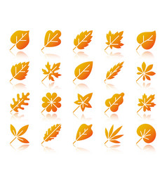 Organic leaf simple gradient icons set vector
