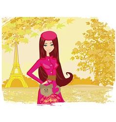 Paris in autumn beautiful women shopping vector