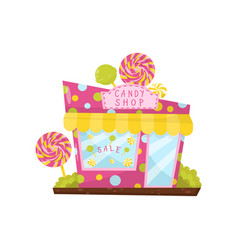 Pink candy shop decorated with big lollipops vector