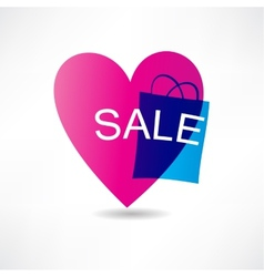 pink heart and sale icon vector image