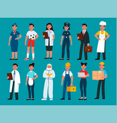 Professionals builder and policeman stewardess vector