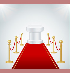 Red event carpet round podium and gold rope vector