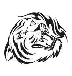 Roaring tiger tattoo vintage engraving vector