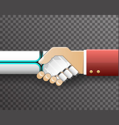 robot businessman handshake innovation technology vector image