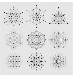 Sacred geometry design elements Alchemy vector